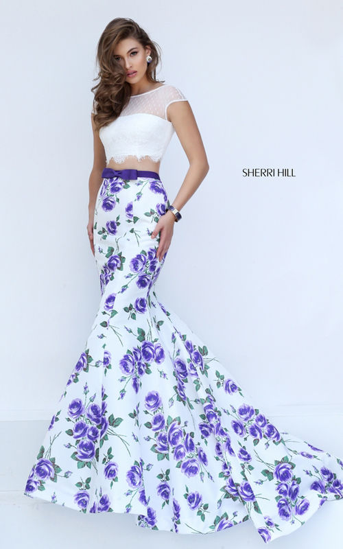purple print Sherri Hill 50421 two piece floral prom dress