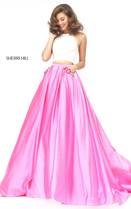 Sherri Hill 50219 ivory pink two piece halter prom dress