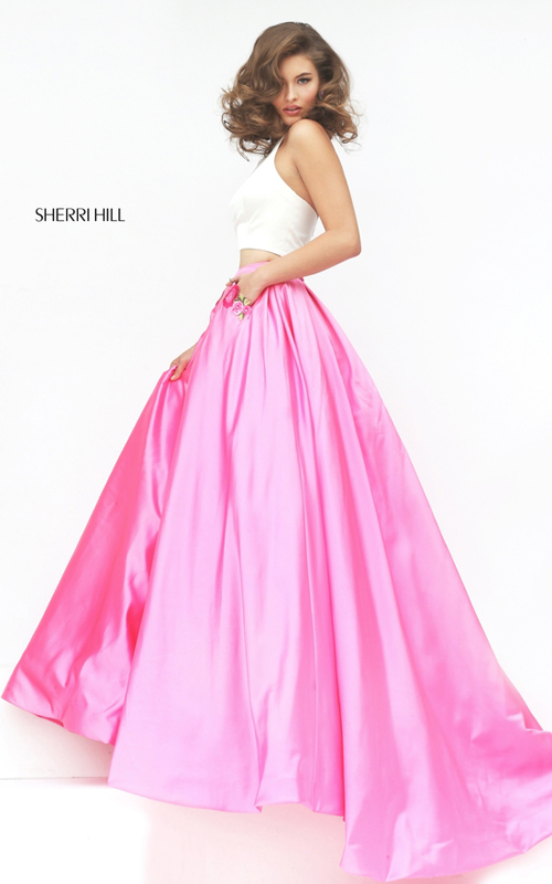 Sherri Hill 50219 ivory pink two piece halter prom dress_1