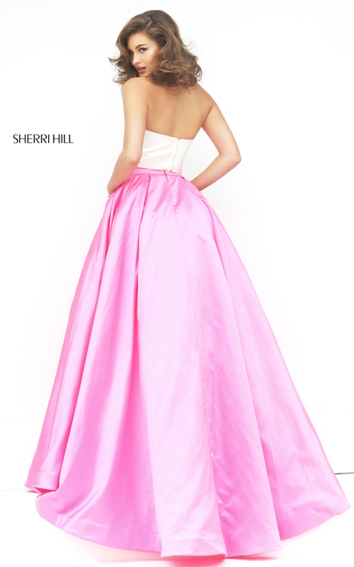 Sherri Hill 50219 ivory pink two piece halter prom dress_2