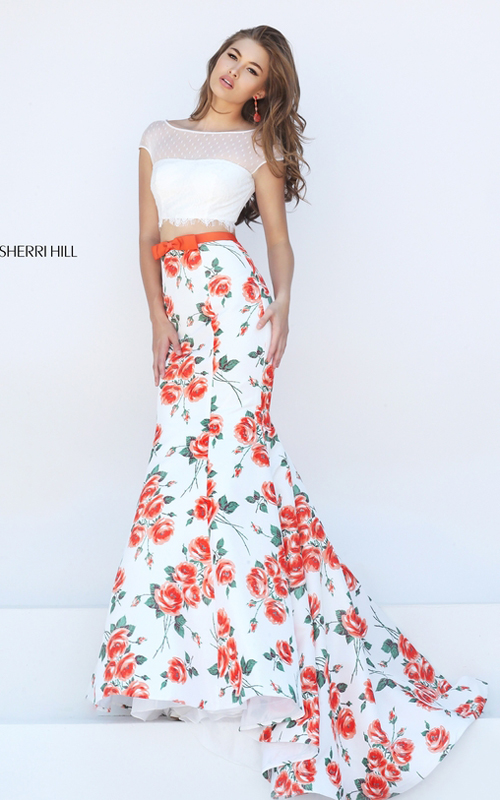 Sherri Hill 50421 orange print floral two piece lace dress