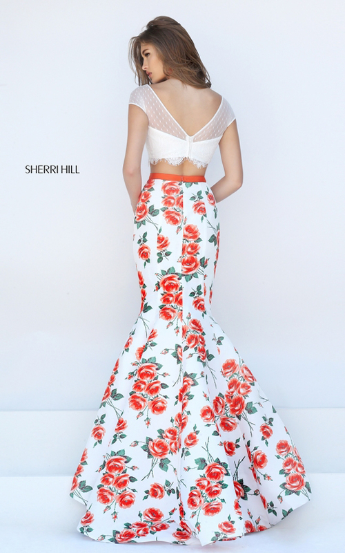 Sherri Hill 50421 orange print floral two piece lace dress_1