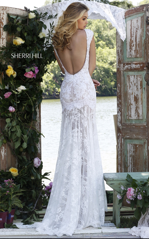 backless floral lace prom dress ivory Sherri Hill 50023