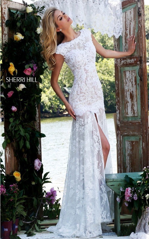 backless floral lace prom dress ivory Sherri Hill 50023_1