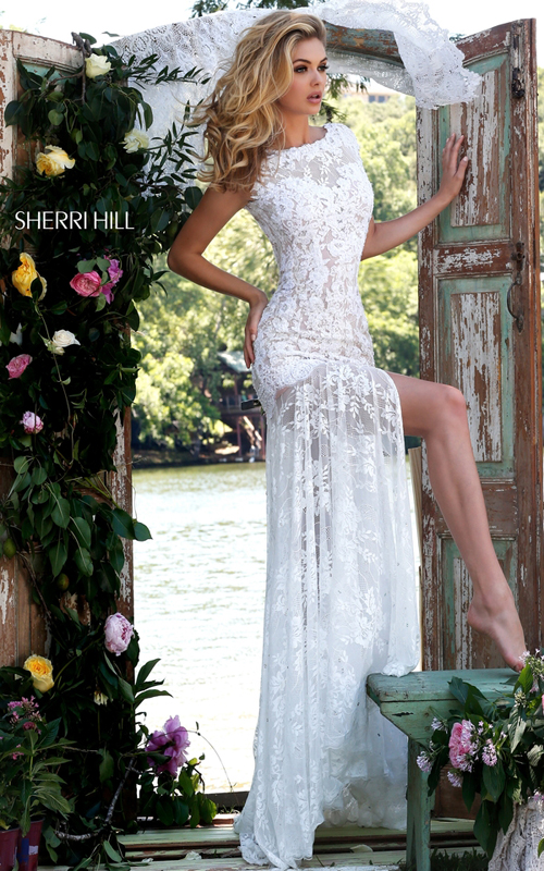 backless floral lace prom dress ivory Sherri Hill 50023_2