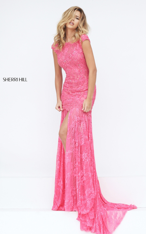 coral Sherri Hill 50023 lace mermaid sexy prom dress