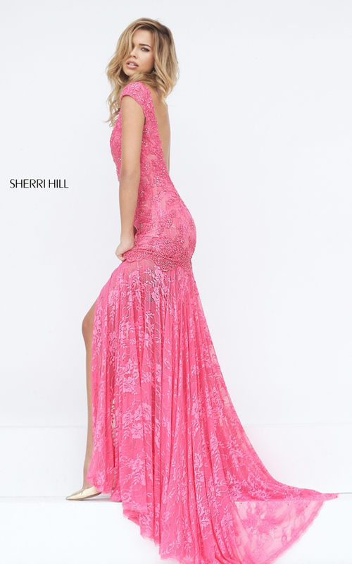 coral Sherri Hill 50023 lace mermaid sexy prom dress_1