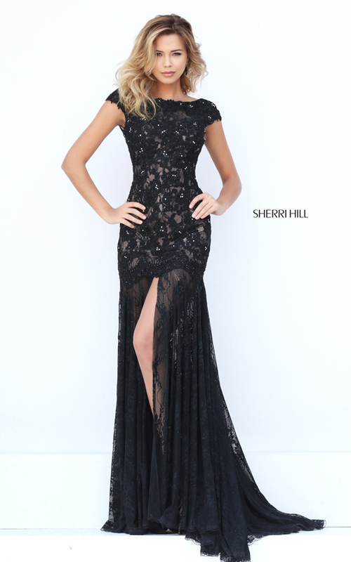 elegant Sherri Hill 50023 black lace evening gown sexy