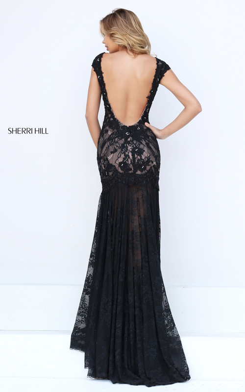 elegant Sherri Hill 50023 black lace evening gown sexy_1