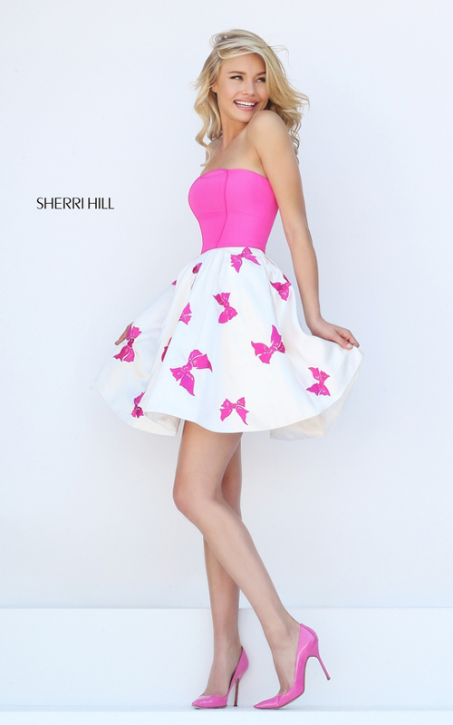 fuchsia Sherri Hill 50230 bows print short cocktail dress