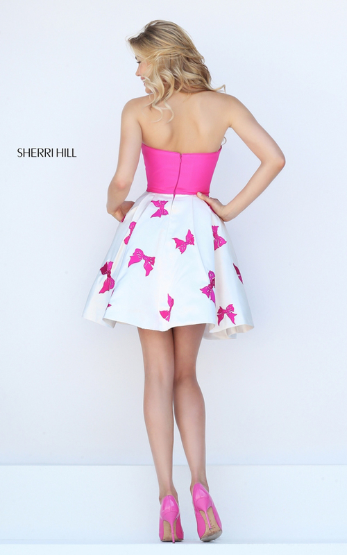 fuchsia Sherri Hill 50230 bows print short cocktail dress_1