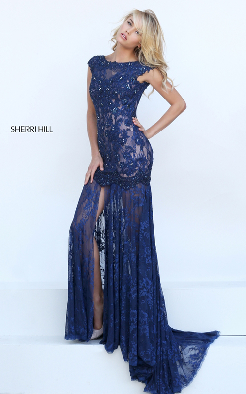 navy Sherri Hill 50023 backless lace mermaid gala dress