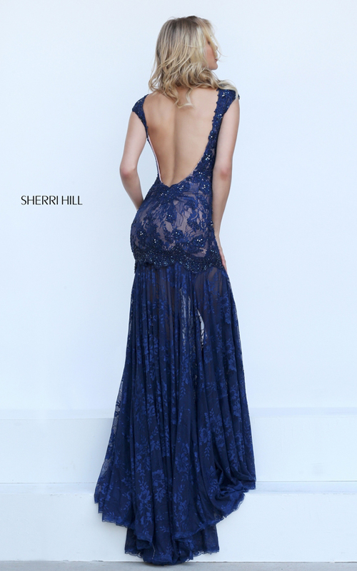 navy Sherri Hill 50023 backless lace mermaid gala dress_1