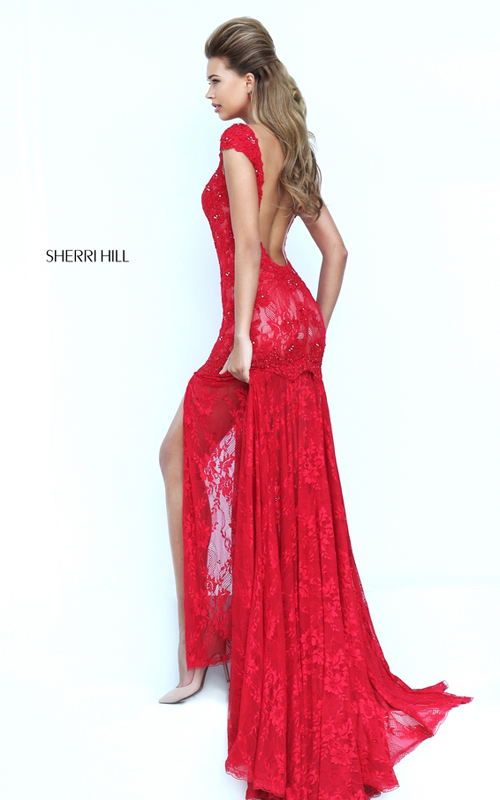 Sherri Hill 50023 lace red backless gala prom dress 2016_1