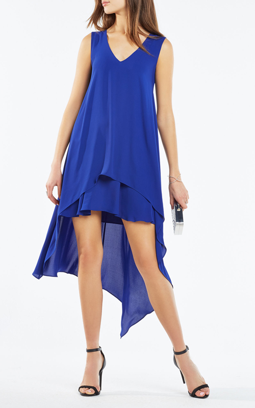 2016 Kaira Asymmetrical Layered BCBG Hi Low Dress Royal