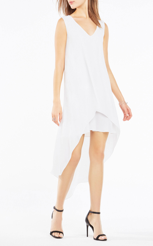 BCBG Kaira Asymmetrical Layered White Cocktail Dress_1
