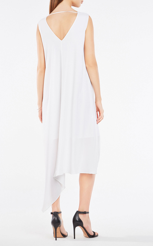 BCBG Kaira Asymmetrical Layered White Cocktail Dress_2