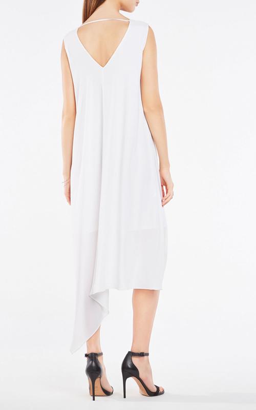 BCBG Kaira Asymmetrical Layered White Cocktail Dress_2