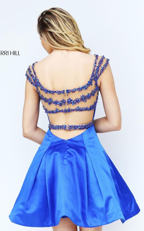 2016 Sherri Hill 50548 Royal Beads Open Back Sexy Dress Short