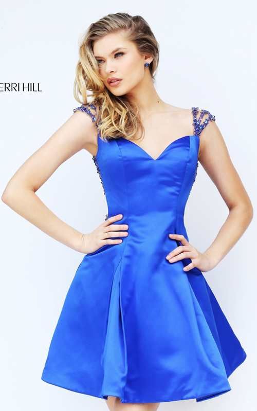 2016 Sherri Hill 50548 Royal Beads Open Back Sexy Dress Short_1