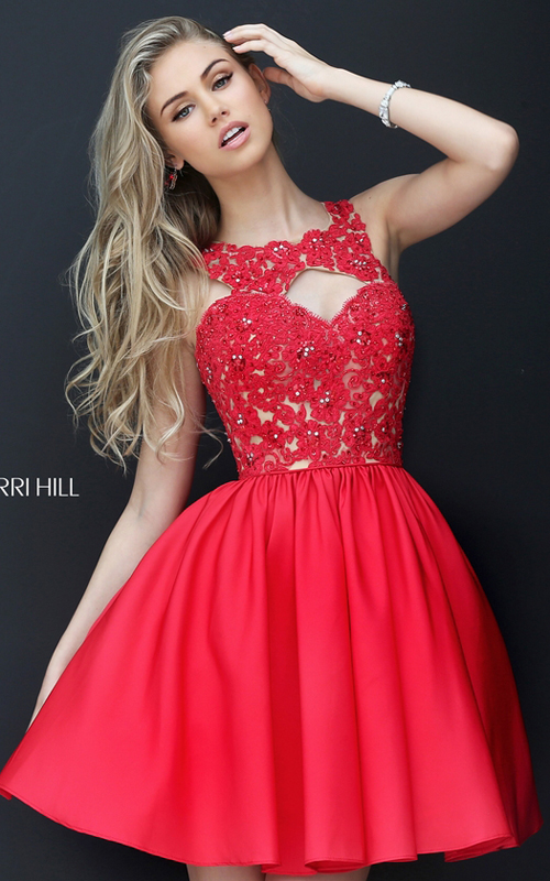 2016 Sherri Hill 50581 Lace Beaded Red Carpet Dress Short
