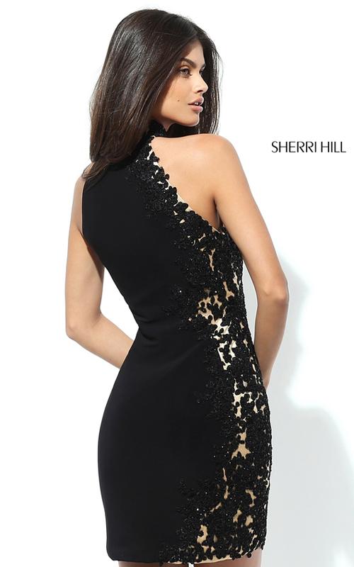 Black Sherri Hill 50608 Lace Jersey Homecoming Dress 2016_1