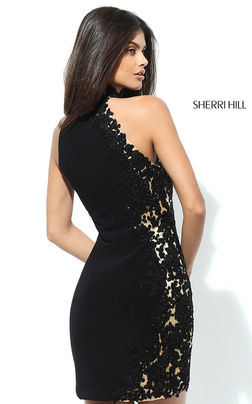 Black Sherri Hill 50608 Lace Jersey Homecoming Dress 2016_1