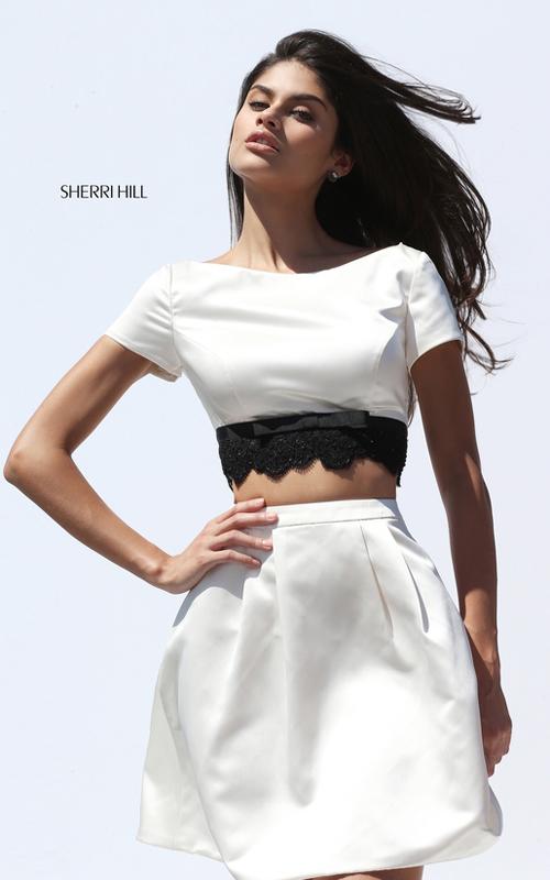 Ivory Sherri Hill Short Satin A Line Homecoming Dress 50724