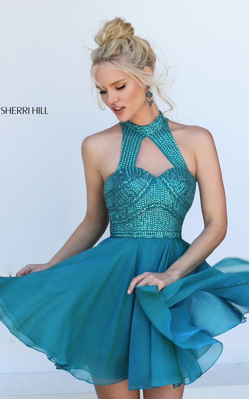 Sherri Hill 50519 Teal Beads Halter Homecoming Dress 2016
