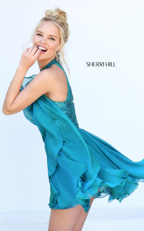 Sherri Hill 50519 Teal Beads Halter Homecoming Dress 2016_1