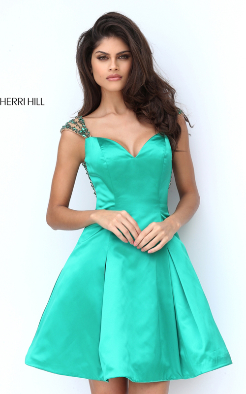 Sherri Hill 50548 Emerald Satin Sweetheart Cocktail Dress