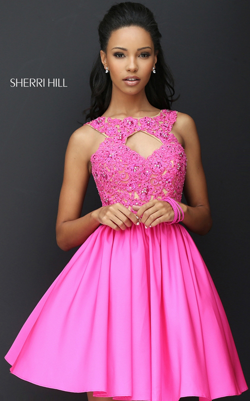 Sherri Hill 50581 Lace 2016 Homecoming Dress Beaded Fuchsia