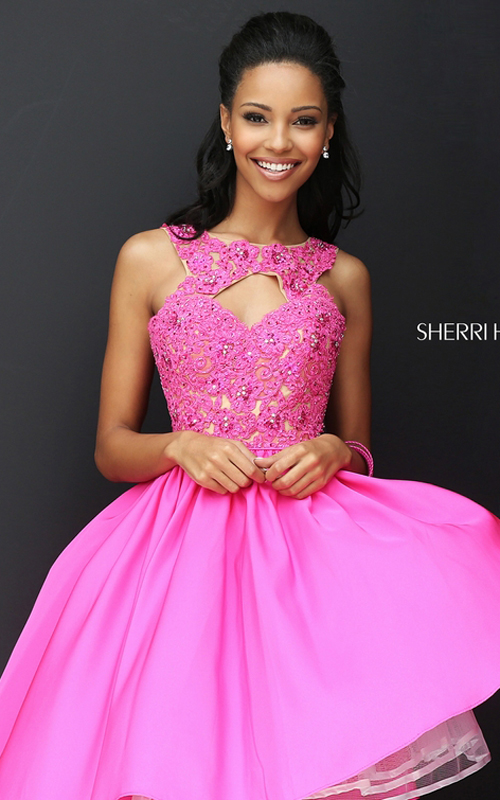 Sherri Hill 50581 Lace 2016 Homecoming Dress Beaded Fuchsia_1