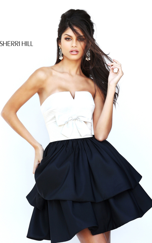 Sherri Hill 50673 Strapless Black White Homecoming Dress