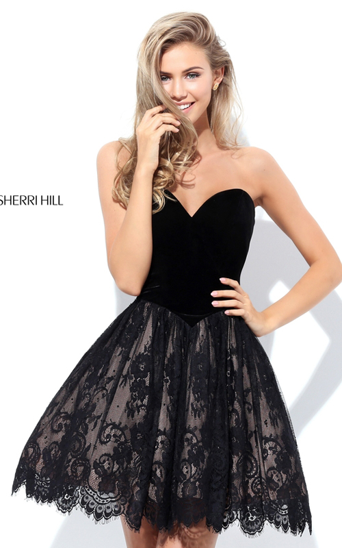 Sherri Hill 50765 Lace Velvet Beads Homecoming Dress 2016
