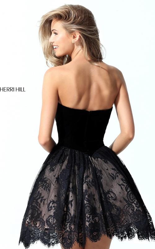 Sherri Hill 50765 Lace Velvet Beads Homecoming Dress 2016_1
