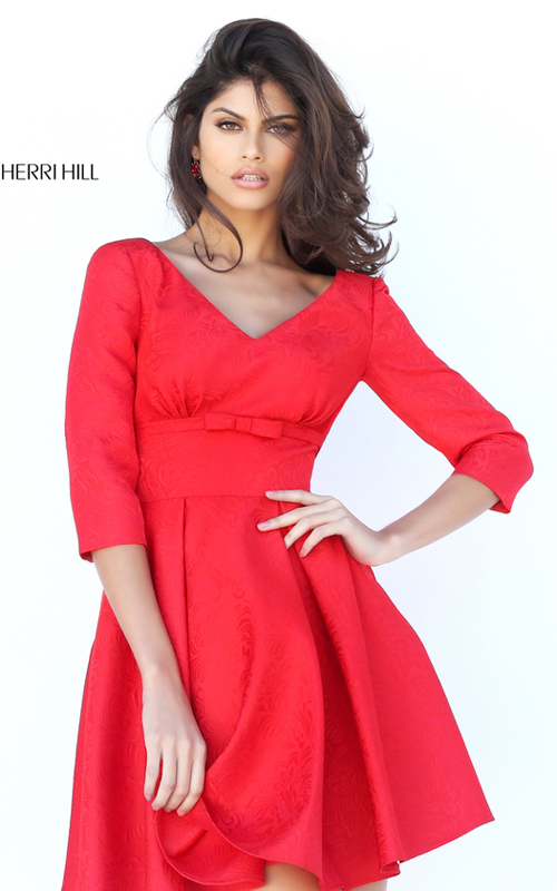 Sherri Hill S50575 A Line V-neck Red Short Cocktail Dress