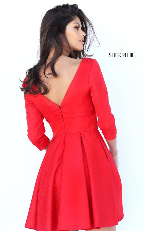 Sherri Hill S50575 A Line V-neck Red Short Cocktail Dress_1