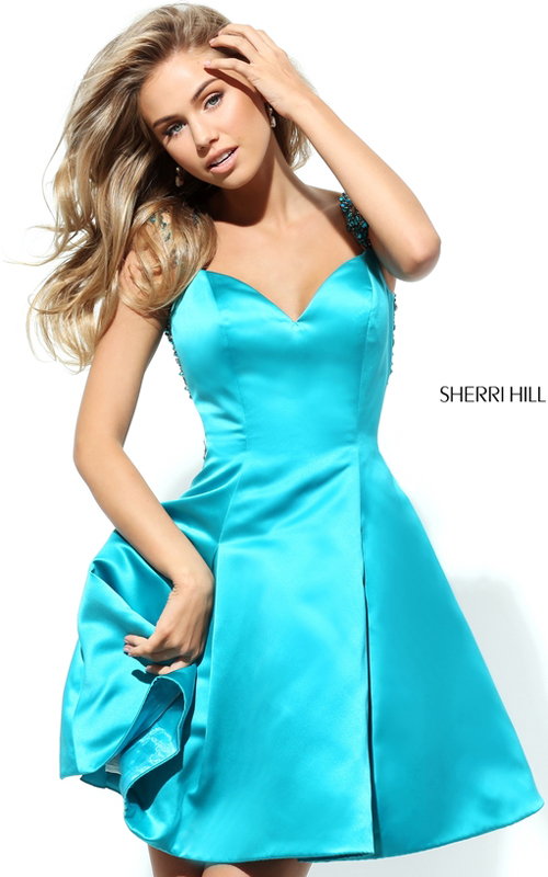 Turquoise Sherri Hill 50548 Sweet Beads Homecoming Dress 2016