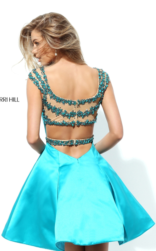 Turquoise Sherri Hill 50548 Sweet Beads Homecoming Dress 2016_1