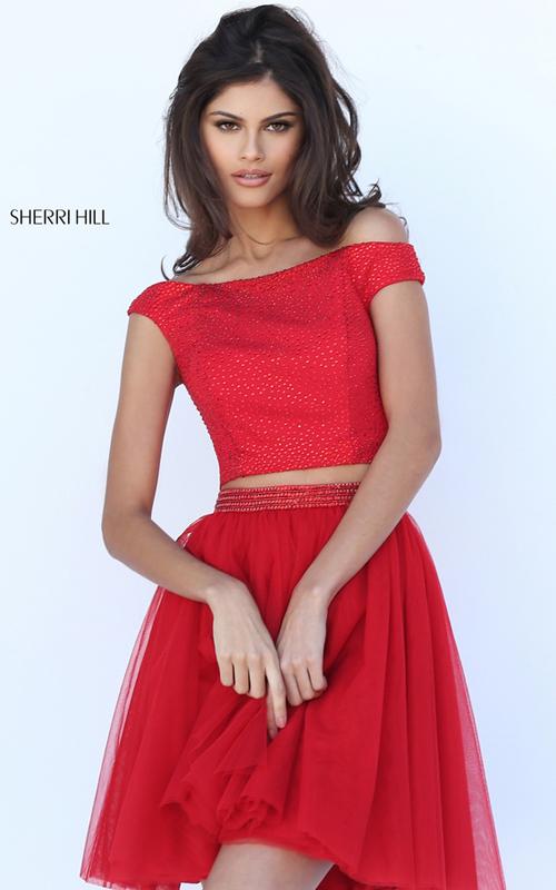 2016 Sherri Hill 50497 Beaded Tulle Homecoming Dress Red
