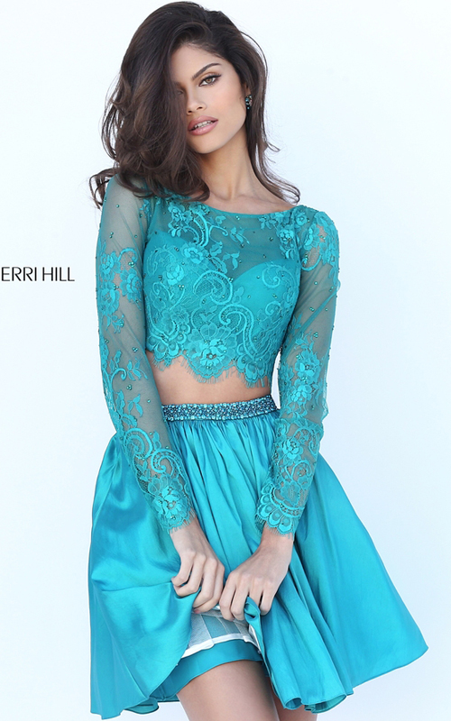 2016 Sherri Hill 50556 Lace Two Piece Party Dress Teal
