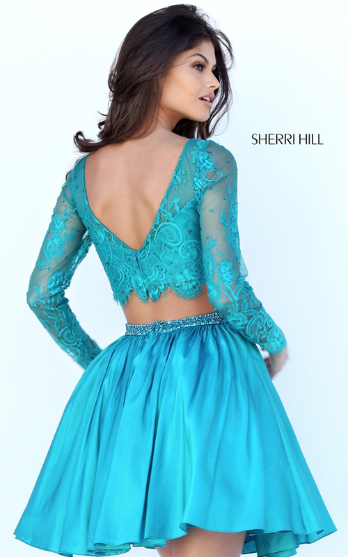 2016 Sherri Hill 50556 Lace Two Piece Party Dress Teal_1