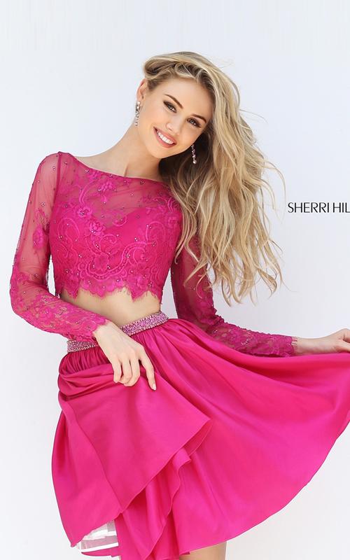 A Line Sherri Hill 50556 Fuchsia Lace Two Piece Sexy Dress