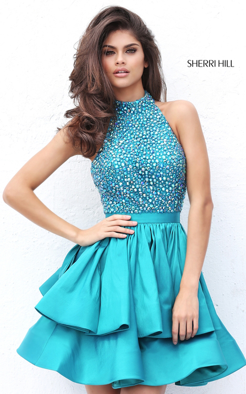 Beads Sherri Hill 50711 Teal Short Dramatic Tiered Dress