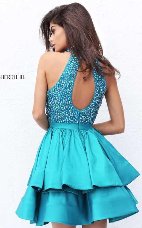 Beads Sherri Hill 50711 Teal Short Dramatic Tiered Dress_1