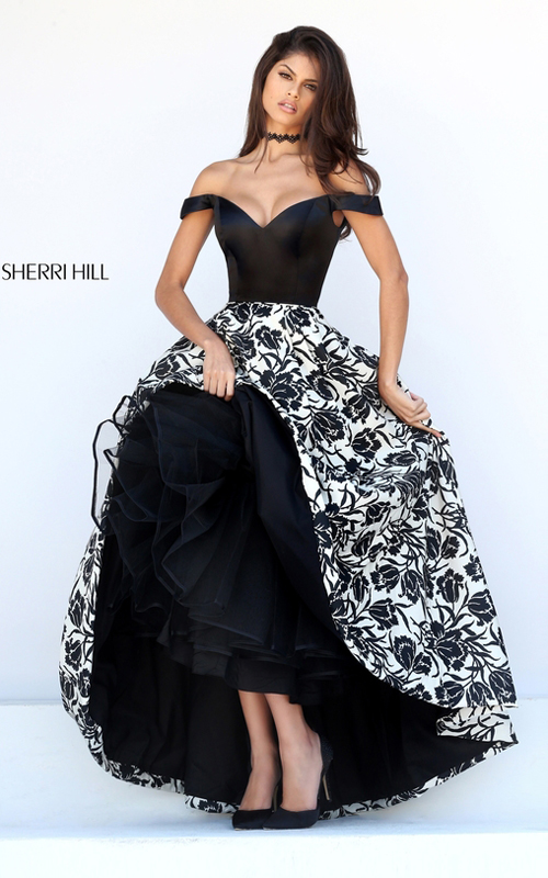 Cap Sleeved Sherri Hill 50714 Black Ivory Print Prom Dress_1