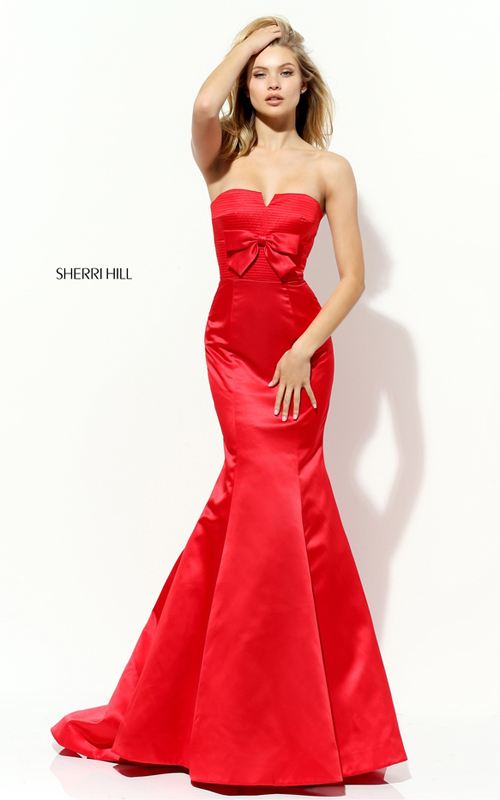 Fitted Sherri Hill 50543 Strapless Mermaid Red Carpet Dress