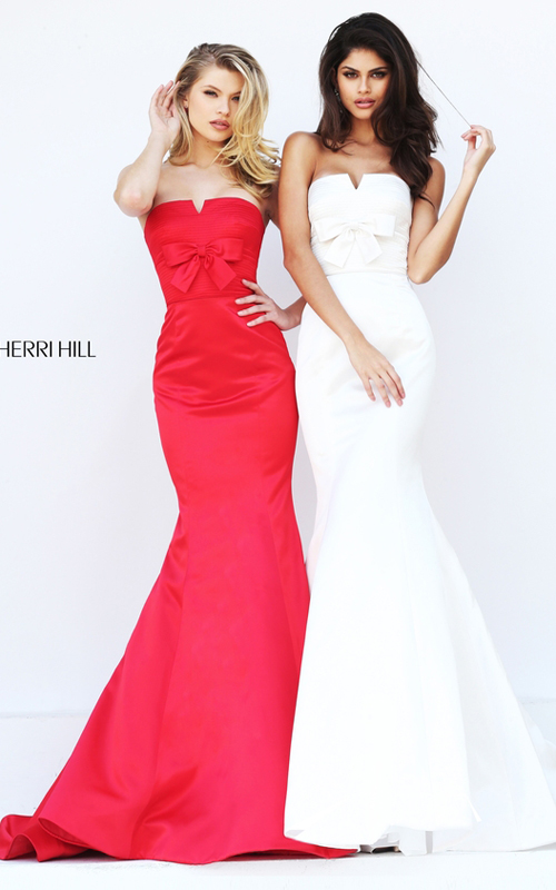 Fitted Sherri Hill 50543 Strapless Mermaid Red Carpet Dress_1
