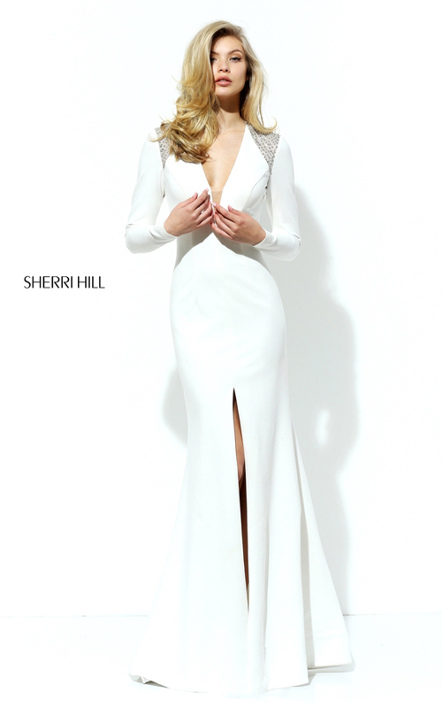 Fitted Sherri Hill 50618 Ivory Open Back Slit Pageant Dress